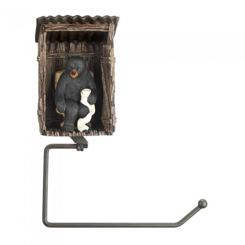 Accent Plus Bear Outhouse Toilet Paper Holder - livezippy