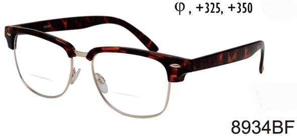8934BF - Wholesale Men's Club Style Bifocal Reading Glasses in Tortoise