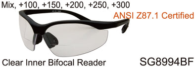 SG8994BF - Wholesale Safety Glasses with Bi-Focal Reading Lens in Black