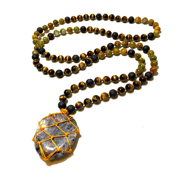 pietersite stone mala necklace