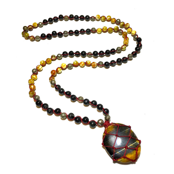108 mala beads necklace tiger eye stone