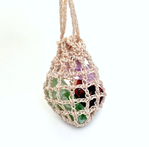 Crystals Crochet Pouch Necklace