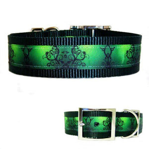 1 1/2 Inch Wide Artsy Green Dog Collar for medium to large dogs