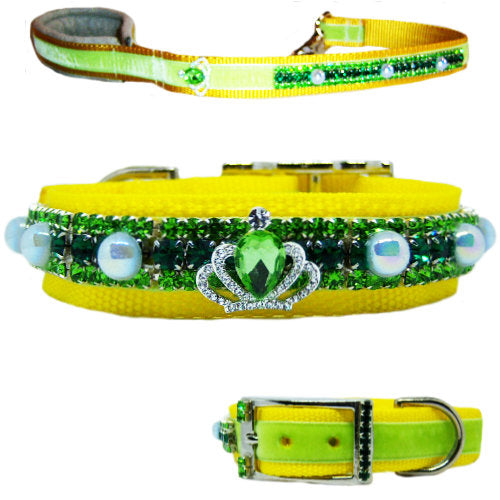 Spring Pearls crystal dog collar and leash set emeralds and pearls