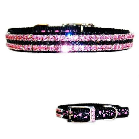 Pink Hearts Jeweled Pet Collar - For dogs and cats - dog-collar-fancy