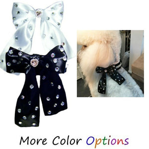Dog Collar Accessory - Satin Bow with Crystals - For small to large dogs - dog-collar-fancy