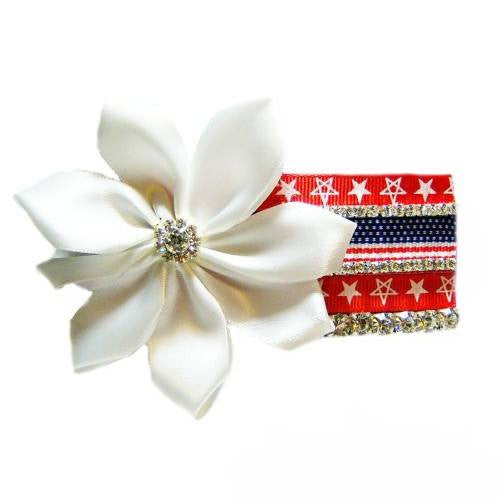 Collar Cuties Patriotic Flag and Flower - Dog Collar Fancy - dog-collar-fancy