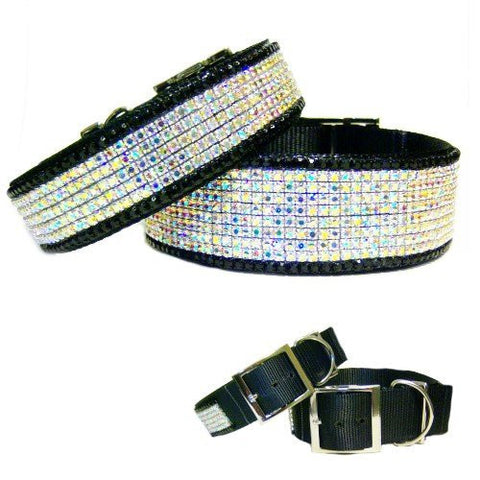 Midnight Aurora Borealis Wide Crystal Dog Collar - For medium to large dogs - dog-collar-fancy