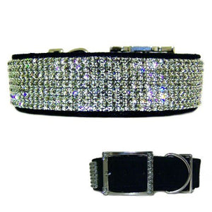 Black Diamonds 1 1/2 Inch Wide Crystal Dog Collar - For medium to large dogs - dog-collar-fancy