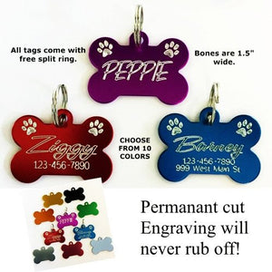 Bone Tag with Paws Personalized Pet Tag - pet charm - dog-collar-fancy