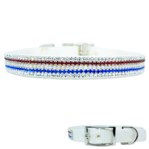 Patriotic red white and blue dog collar with pearls