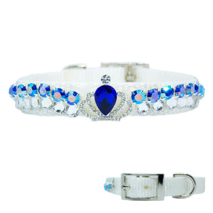Sapphire Sensation fancy pet collar, white collar with clear and sapphire crystals