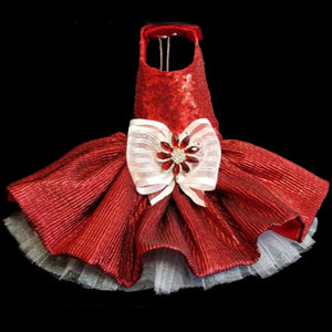 Gorgeous scarlet princess red sequin dog dress for your best girl dog