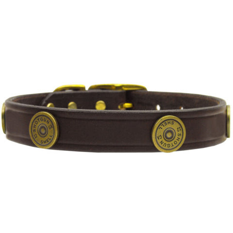 Leather Shotgun Shell Dog Collar in Brown Leather