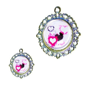 Water Color Hearts Dog Tag - pet charm - dog-collar-fancy