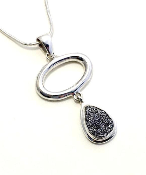 Gray Geode & Silver Loop Pendant on Sterling Silver Chain