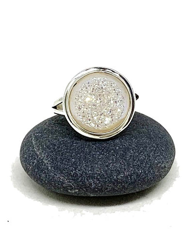 Sparkly White Geode Ring - Size 8.5
