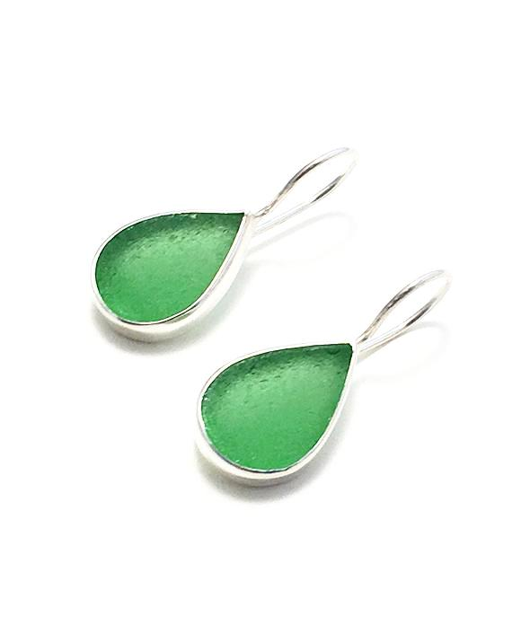 Green Teardrop Sea Glass Single Drop Earrings