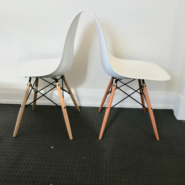 Set of SIX Eames Moulded Plastic with Dowel Leg Chairs by Vitra
