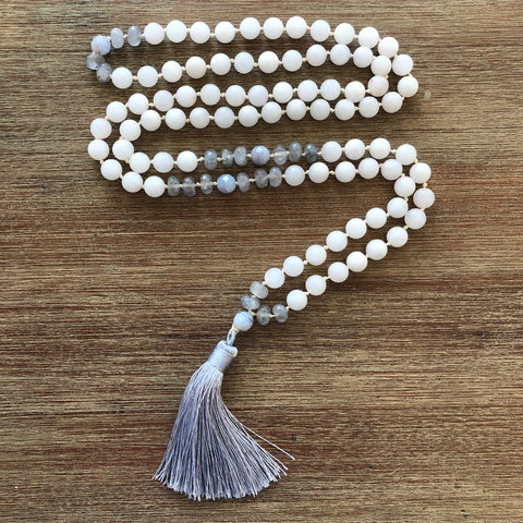 Moonstone Jade Mala with Blue Lace Agate & Gray Quartz