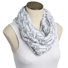 White with Gray Arrows Muslin Infinity Nursing Scarf 100% Cotton