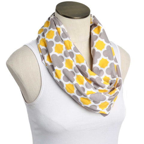 Gray, Yellow & White Quatrefoil Nursing Scarf