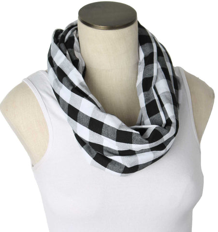 Buffalo Plaid White & Black Nursing Scarf