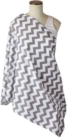 Gray Chevron Nursing Scarf
