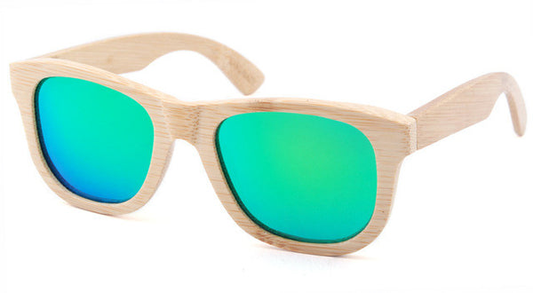 Wooden Sunglasses with Light Brown Frame and Green Lens
