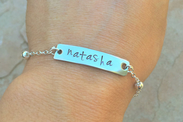 Monogram Bracelet, Name Bracelet, Bar Bracelet, Personalized Hand Stamped Bracelet, Monogram, natashaaloha - Natashaaloha, jewelry, bracelets, necklace, keychains, fishing lures, gifts for men, charms, personalized,