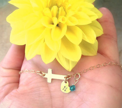 cross bracelet, initial bracelet,childrens bracelet, first communion, cross jewelry, baby bracelet, babies first bracelet - Natashaaloha, jewelry, bracelets, necklace, keychains, fishing lures, gifts for men, charms, personalized,