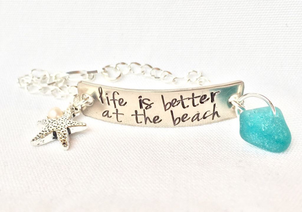 Life Is Better At The Beach Bracelet - Natashaaloha, jewelry, bracelets, necklace, keychains, fishing lures, gifts for men, charms, personalized,