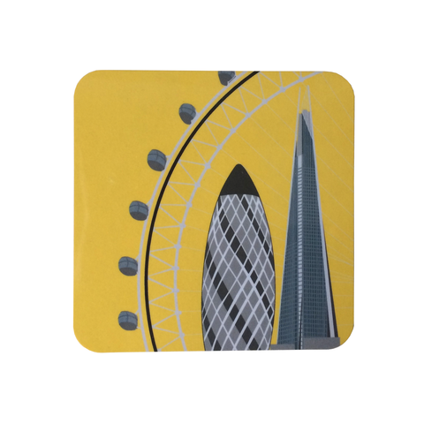 Yellow The Eye, Shard and Gherkin Coaster