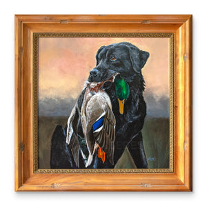 Proud Retrieve (Black Lab with Mallard), 30x30""