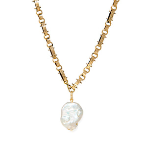 Keshi Pearl Necklace on Antique Watch Chain