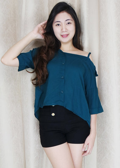 Green Side Strap Polo Sleeves Top