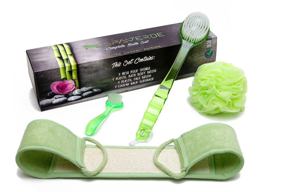 Complete Bath & Shower Kit - Mesh Pouf, Loofah Back Scrubber, Bath Brush, Face Brush