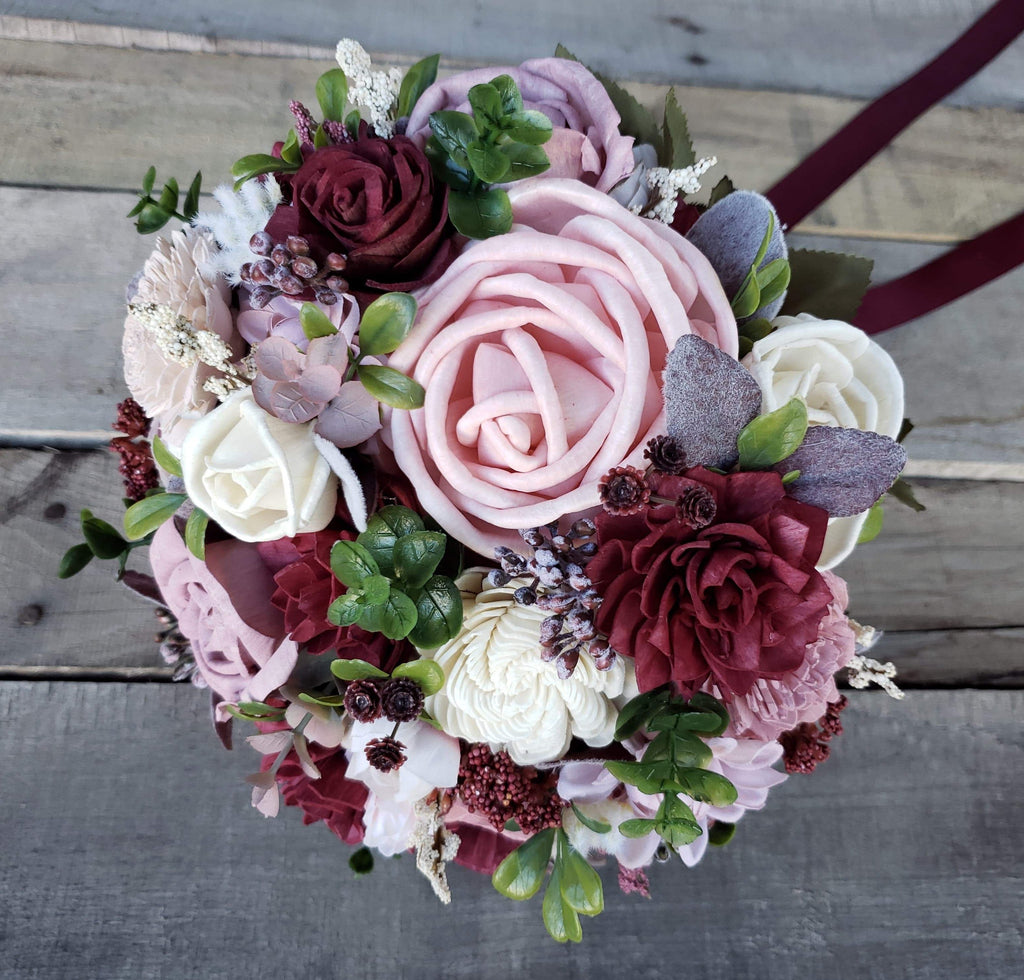 **CLOSEOUT SALE** Blush and Burgundy Bridal Bouquet, Bridal Bouquet, Rose & Bee Organics, Rose & Bee Organics - Rose & Bee Organics