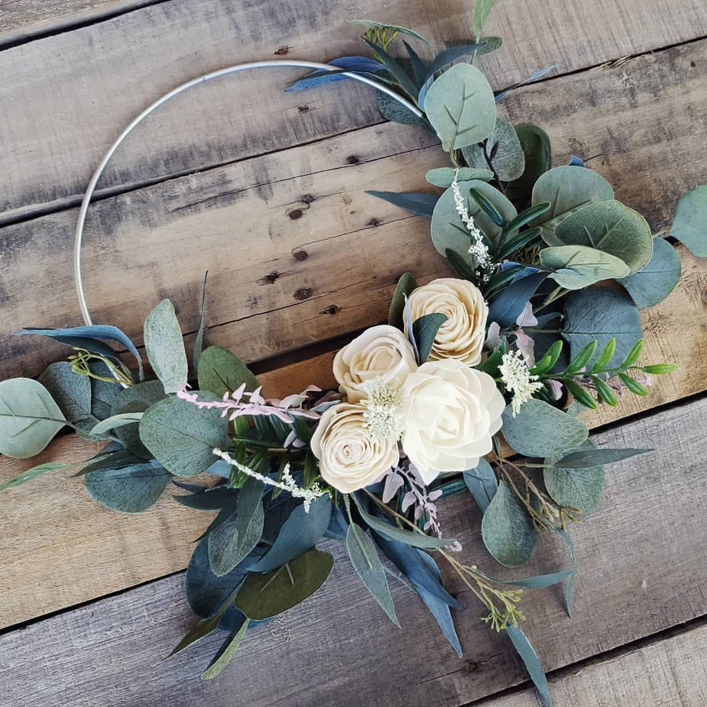 **CLOSEOUT SALE** Basic Wood Flower Hoop Bouquet, Bridal Bouquet, Rose & Bee Organics, Rose & Bee Organics - Rose & Bee Organics