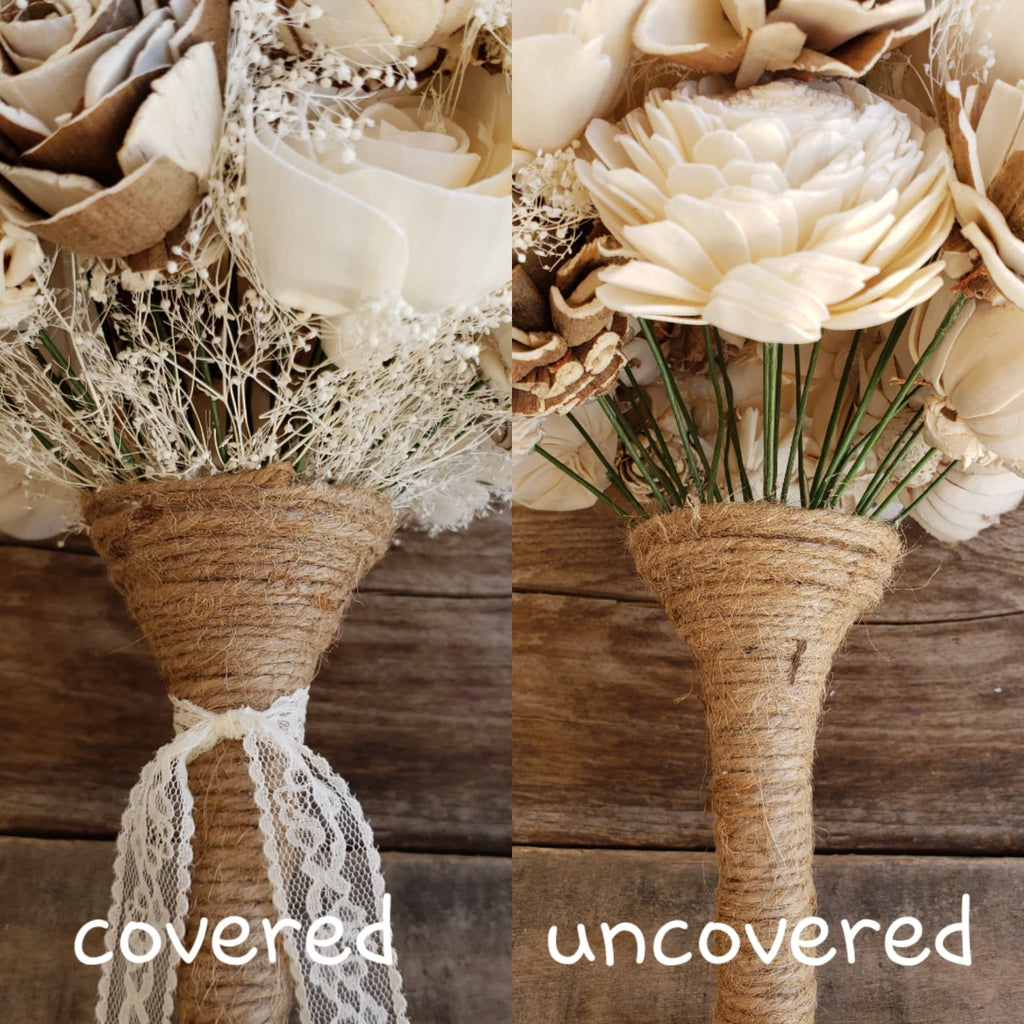 Cream and Raw Wood Flower Bouquet, Bridal Bouquet, Rose & Bee Organics, Rose & Bee Organics - Rose & Bee Organics