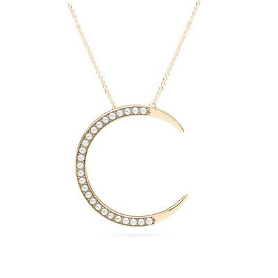 Crescent Moon Pendant with Freshwater Seed Pearls