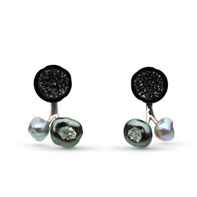 3 Pearl Earrings with Black and White Diamonds
