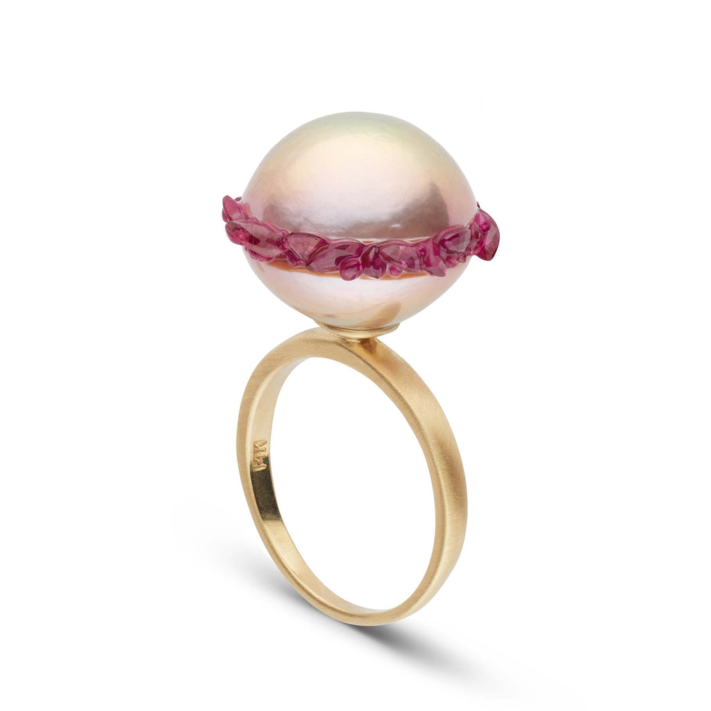 Freshwater Pearls and Ruby Spiral Collection Ring