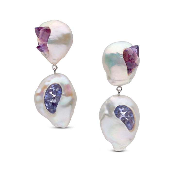 Freshwater Pearl Point Earrings with Amethysts and Tanzanites