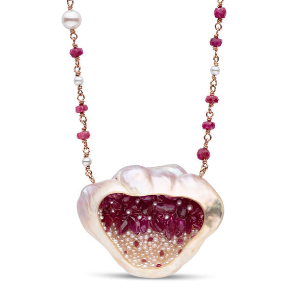 Finestrino Ruby and Seed Pearl Necklace