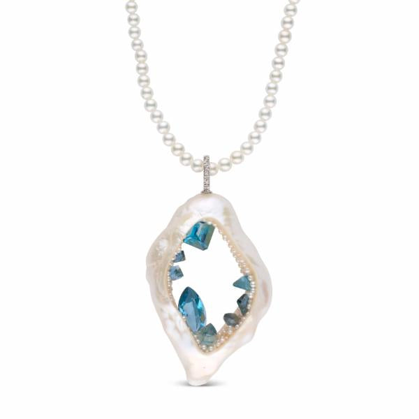 Freshwater Pearl Grotto Blue Topaz Necklace