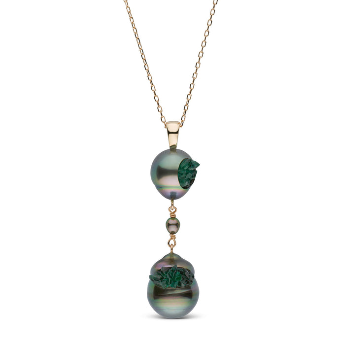Tahitian Double Pearl and Emerald Spiral Collection Pendant