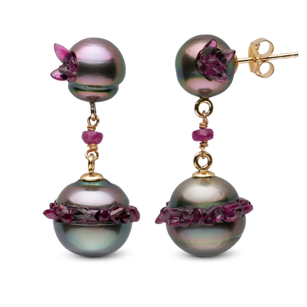 Tahitian Pearl and Ruby Spiral Collection Short Dangle Earrings