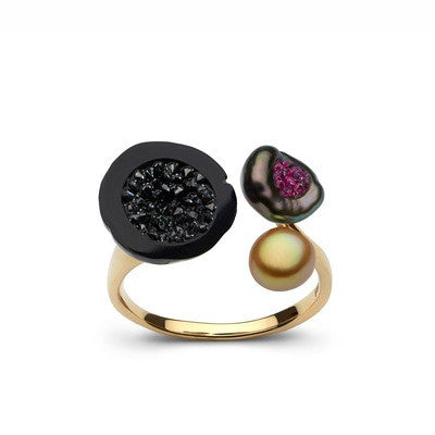 3 Pearl Ring with Black Diamonds and Rubies