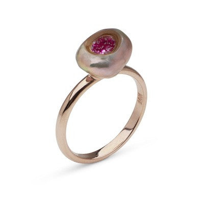 Baroque Freshwater Pearl and Pink Sapphire Ring